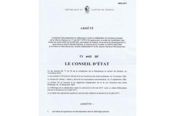 Arrêté du Conseil d'État concernant l'aboutissement du Référendum du Petit-Saconnex Village du 23 août 2017