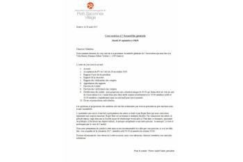 Association pour la Sauvegarde du Petit-Saconnex Village - Convocation Assemblée Générale 19.09.2017
